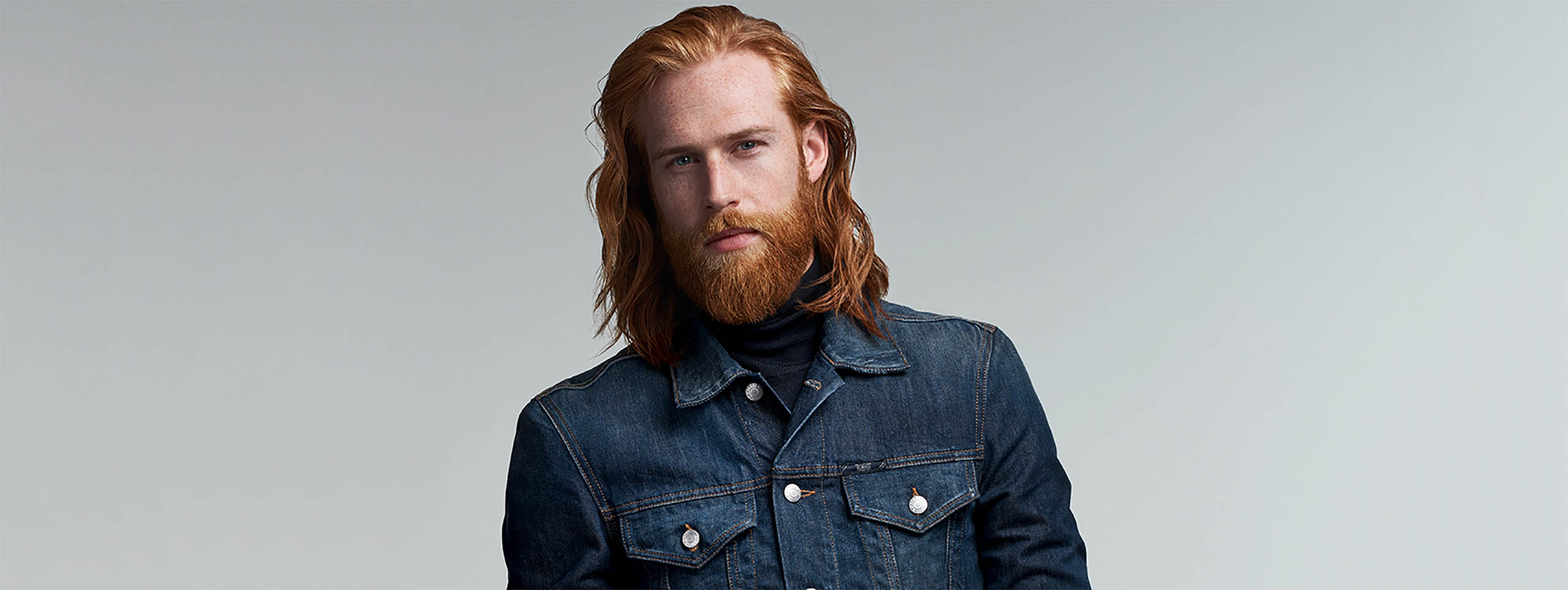 Male model with long hair.